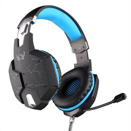Conector de auriculares led online-Nueva vibración Gaming Headset para juegos de computadora Micrófono ajustable Auricular estéreo USB Over-Ear Auricular con luces LED Jack de 3.5mm