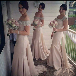 light pink beads Canada - 2018 Light Pink Mermaid Bridesmaid Dresses Beaded Satin Tulle Off The Shoulder Sweep Train Custom Made Country Bridesmaid Gowns For Wedding