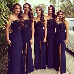 aberto volta casamento vestidos de ouro Desconto 2020 Blue A-Line Marinha dama de honra Vestidos Querida Alças apliques de renda Beads alta Splits Longo Prom Vestidos Vestidos