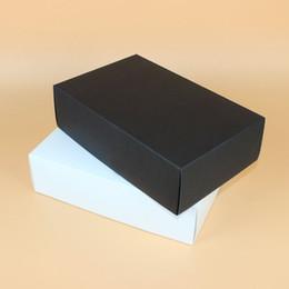 Wholesale print cardboard - 28*18*8cm Large Black White Paper Gift Box Big Gift Kraft Cardboard Box For T-shirt Shoes Underwear ZA6153
