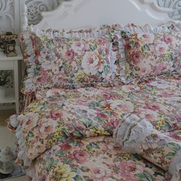 Wholesale Pillowcase Skirt - Free shipping European floral lace bedding ruffles embroidered bed skirt duvet cover pillowcase set twin full queen king size