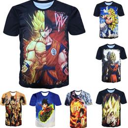 Wholesale Acrylic Shorts - 3D Men T Shirt Dragon Ball 16style Summer Women t shirts 2018 New Super Anime t shirt Goku Super Saiyan hip hop one piece Print short sleeve