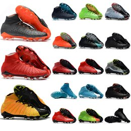 Wholesale Red Rose Boots - 2018 mens soccer cleats Hypervenom Phantom III EA Sports FG soccer shoes soft ground football boots cheap Rising Fast Pack neymar boots new