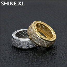Idea de oro online-Anillo de Hip Hop Hombres Oro Plata Color Plateado Iced Out Micro Pave Zircon Fashion Finger Joyería Regalo de la Fiesta Idea