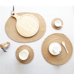 Schrankmatten online-Natual Stroh Wasserhyazinthe Weben Tischset Leinen Schrank für Esstisch Runde Oval Woven Tischset Küche Abendessen handgemachte Matte