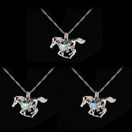 Wholesale New Design Sweater For Men - Fashion Luminous Glowing in the Dark Horse Necklace Sweater necklace New Design Charm silver Plated Chains Necklaces For Men Women