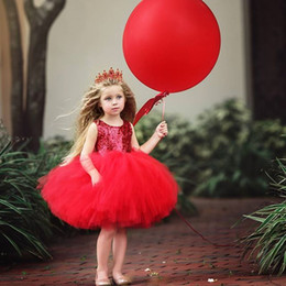 Wholesale Baby Frocks Style - 2018 Valentina's Day Children Clothes Baby Girl Sequined Backless Party Tutu Dresses Kids Lace Tutu Frock Designs