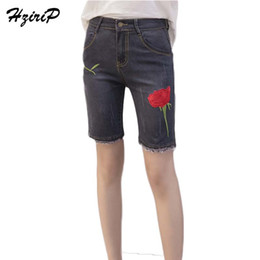 90f4fad8b3cf9 HziriP Plus Size Summer Jeans Women Embroidered Floral Fashion 2017 Femme  Pant Gray High Waist Vintage Ladies Pants Hot Sale discount floral jeans  pants ...