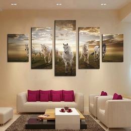 Gran pared de decoración online-Sin marco 5 pcs Imagen de Arte Barato de Alta Calidad Caballo Corriente Grande HD Moderno Hogar Decoración de la Pared Impresión de la Lona Abstracta Pintura Al Óleo