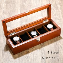Wholesale Window Shows - MU 5 Slots Wooden Watch Storage Boxes With Window Fashion Watch Display Case With Lock Black Jewelry Showing Gift Box W026