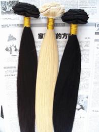 Extensiones de cabello rubio oscuro online-Clip brasileño en la virgen humana Extensiones de cabello recto Remy Blonde 613 # color marrón oscuro negro ColorClip en extensiones de cabello