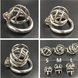 2019 acciaio anello del pene (S-35mm / M-45mm / L-50mm) gabbia di metallo curva curva anello base blocco del pene in acciaio inox maschio gabbia di castità facile da fare pipì dispositivi di castità per gli uomini acciaio anello del pene economici