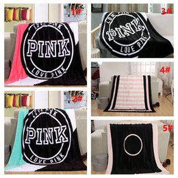 Wholesale Wholesale Pink Beach Towels - 5 Colors Love Pink Letter Blanket 130*150cm Soft Coral Velvet Beach Towel Blankets Air Conditioning Rugs Comfortable Carpet 10pcs H14
