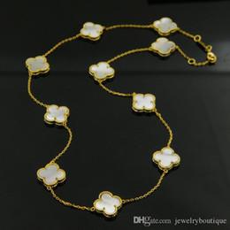 Largos de collar para las mujeres online-JewelryStore999 collar de 45 cm de longitud Collar de acero de titanio 316L de alta calidad con 10 piezas de trébol en piedra natural marca de mujer