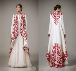 weißgold indische kleider Rabatt Elegante lange Ärmel Abendkleider Weiß Rot Stickerei Satin Chiffon Saudi Arabisch Frauen Abendkleider Indian Party Kleider