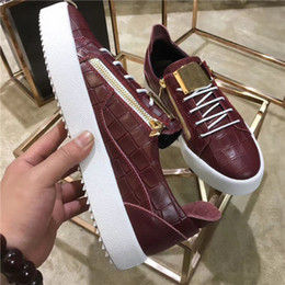 Wholesale Color Light Designer - hot Italy Luxury Casual Shoes Color Matching Zipper Men and Women Low Top Flat Shoes Genuine Leather Mens Shoes Designer Sneakers Trainers