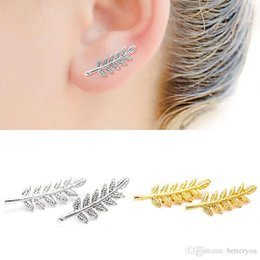 Wholesale Foreign Gold Earrings - Europe and the United States foreign trade new fashion simple leaves shaped leaf shaped earrings ear clip female wholesale