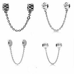 5d46b2dfc3fc Joyas finas Auténtico 925 de plata esterlina abalorios Pandora Charm Pave  Inspiración Cristal de seguridad Cadena de perlas perlas auténtica cadena  de ...