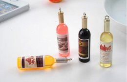 Wholesale Jewelry Plastic Bottles - Mini Plastic Wine Bottle Charms Pendant For Necklace Diy Keychain Cell Phone Jewelry Gifts Hanging Accessories