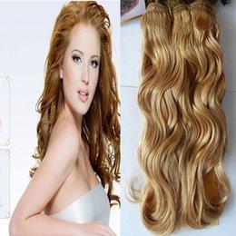 color de cabello 27 fresa rubio Rebajas YUNTIAN HAIR 27 Strawberry Blonde brasileño Onda del cuerpo Remy armadura del pelo 1 unids 12 pulgadas a 28 pulgadas paquetes de cabello humano trama envío gratis