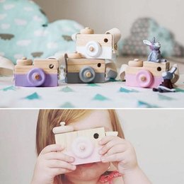 Wholesale Wood Photography Props - Wholesale-Wooden Camera Creative Toy Neck Photography Prop Decor Children Festival Gift Baby Educational Toy Holiday Gift to Baby In Stock