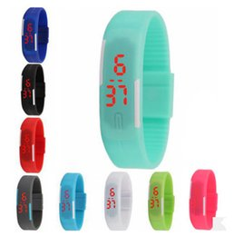Wholesale Touch Wristwatches - Unisex LED Sports Digital Display Touch Screen Watches Candy Jelly Silicone Rubber Belt Watch Band Bracelet Wristwatch