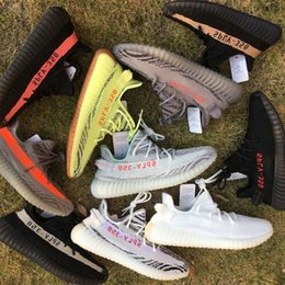 Wholesale Freeze Blue - 2018 Semi Frozen Yellow B37572 Gum Sole 350 v2 Beluga 2.0 B37571 Blue Tint SPLY 350 Zebra Black Red Running Shoes