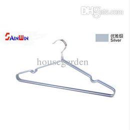 Wholesale metal trouser hangers wholesale - Wholesale-Sainwin 20pcs lot 40cm Non-Slip Metal Shirt Trouser Hook Hanger PVC Plastic And High Manganese Steel Hangers For Clothes Racks