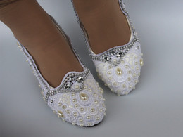white satin bridal flats Promo Codes - Lace white crystal Wedding shoes Bridal flats low high heel pump size 5 10
