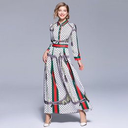 lungamente abito da sera bianco di nozze Sconti Vintage Print Autumn Maxi Dress 2018 Dames Donna Lungo Retro Party Dress Robe Longue Femme