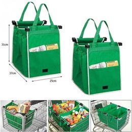 Wholesale reusable storage bags - Magic trolley shopping bag clip to cart shopping bag eco friendly reusable large capacity 20L foldable tote storage organizer grab bag