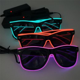 Rave occhiali da sole bagliore online-Occhiali semplici El Wire Moda Neon LED Light Up Shutter a forma di bagliore Occhiali da sole Rave Costume Party DJ Bright SunGlasses