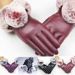 фиолетовые кожаные перчатки Скидка 2018 Women Lady Black Leather Gloves Autumn Winter Warm Rabbit Fur Mittens Purple Black Red Color