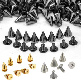 Wholesale Metal Spikes Studs - 100pcs Spikes Cone Studs Metal 10mm Spots Rivet Cone Screw Studs Leathercraft DIY Craft Rock Clothes Handcraft Accessories