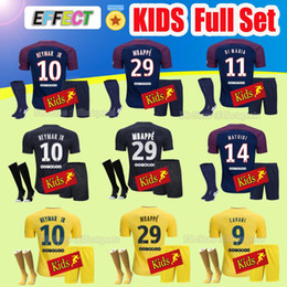 Wholesale Football Shirt Kids Kit - Kids Full Sets Maillot de foot MBAPPE NEYMAR JR soccer jerseys 2018 Child Youth 17 18 football shirt KIT survetement DRAXLER VERRATTI Socks