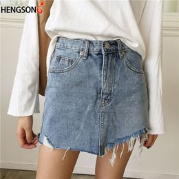 0cc3eda6c39f New Casual Pencil Skirt Summer Jeans Skirt Women High Waist Irregular Edges Denim  Skirts Female Mini Washed Faldas