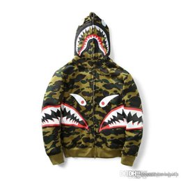 Wholesale Men S Cashmere Cardigan Sweaters - New Men's Camouflage Shark Mouth Print Hoodie Plus Cashmere Sweater Men Women Hooded Autumn Winter Jacket