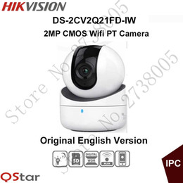 Wholesale Ip English - Hikvision mini wifi PT Camera HD1080P CMOS PT IP Camera built in microphone and speaker SD Card DS-2CV2Q21FD-IW Original English