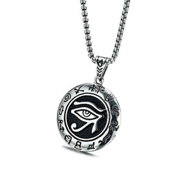 Wholesale religious gods - New Arrival Men Ancient Egypt Sun God Horus Eye Pendant Necklace with Vintage Old Character Stainless Steel for Male Religious Jewelry