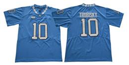 Carolina negra on-line-Novo Colégio Camisas De Futebol Da Carolina Do Norte Jerseys # 10 Trubisky Azul Preto Branco Cor Tamanho S-XXXL Costurado Mix Match Ordem De Todos Os Jerseys