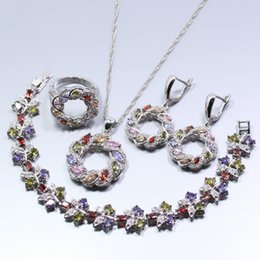 Wholesale White Jade Earrings 925 Silver - whole saleHollow Round 925 Silver Party Jewelry Set Multicolor Crystal Earring Necklace Bracelet Pendant Ring For Women Free Gift W176
