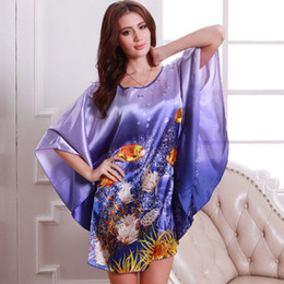Nature Print Plus Size Women Nightwear Faux Silk Sleepwear Female Nightgown  Satin Night Sleeping Home Dress for Women SY084 10 960535b3da9d