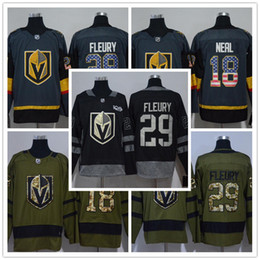 grüne weiße fahnen Rabatt 2018 Herren Las Vegas Knights 29 Marc-Andre Fleury 18 James Neal Army Green USA Flagge Weiß Schwarz Grau Eishockey Trikots Großhandel