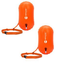 Cajas abiertas online-2Pcs Swim Buoy - Swim Safety Float y Dry Bag para nadadores en aguas abiertas Triathletes Snorkelers Surfers Safe Swimming Training