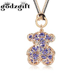 Wholesale Blue Womens Sweater - Godzgift Womens Bear Sweater Crystal Necklaces Girls Blue Red Colorful Romantic Pendant Alloy Necklace New Jewelry Gifts JN5131