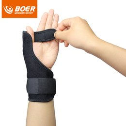 Wholesale Wholesale Wrist Strap Weightlifting - 1 PCS Wrist Support Thumb Steel Protection Hand Weightlifting Gym Fitness Straps Dumbbell Barbell Weight lifting Gloves HJ28