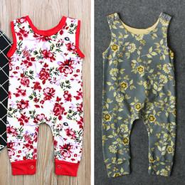 Mamelucos sin mangas Rose Gold Flora O-cuello con estampado de mono Recién nacido pequeño bebé infantil Niñas Niños chaleco ropa 3-24Mos desde fabricantes