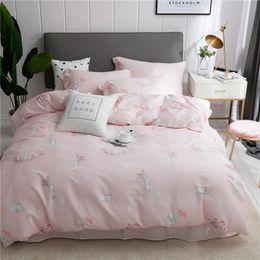 2019 kaninchen print duvet 4pcs nette Kaninchen gedruckte Baumwollbettwäschesätze Karikatur-Bett-gesetzte Bettbezug-Bett-Blatt-Abdeckungs-gesetzte Kissenbezugszwillings-Königgröße günstig kaninchen print duvet
