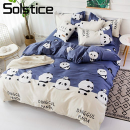Solstice Home Textile Twin Completo Queen Bedding Set Panda Blu Copripiumino Federa Flat Sheet Boy Bambino Kid Girl Biancheria da letto da