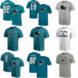 Wholesale Nhl Shirts - 2018-19 New Season NHL SAN JOSE SHARKS 88 Brent Burns Custom Any Player Name & Number Short T-Shirt For Men Women Youth